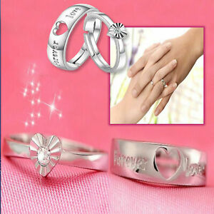 Romantic-Couple-039-s-Promise-Rings-925-Sterling-Silver-Plated-Forever-Love-CZ-Heart