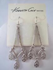 Kenneth Cole matte silver tone dangle earrings, NWT