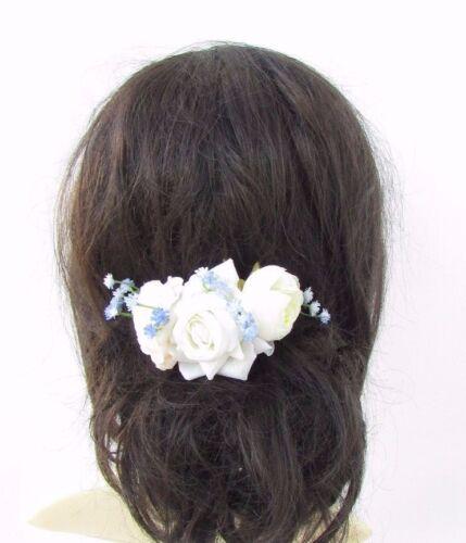 Ivory Crème Bleu Rose Blossom Fleur Cheveux Peigne Demoiselle D/'honneur Mariée Bibi 3698