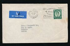 GB QE2 WILDING 1966 1s 3d AIRMAIL to CANADA...HARRODS PERFIN