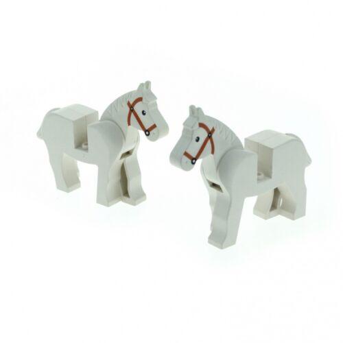 2 x Lego System Animal Horse White Zoo Circus Farm Knight Indian Cowboy 4493