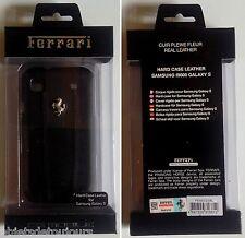 Coque téléphone portable pour Samsung I 9000 Galaxy S Ferrari cuir noir