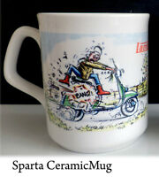 Scooter Mug Cup, Mod Scooter Mug, Bone China & Ceramic, LI TV SX GP Scooter Mug