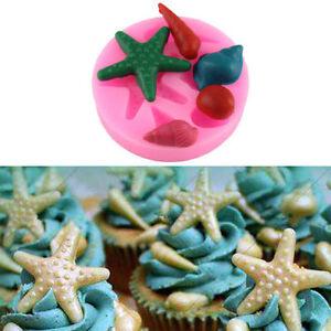 1 Set 3D Starfish Beach Sea Silicone Mould Cake Sugarcraft Icing Decoration Mold