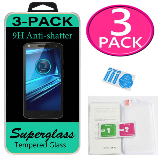 3X Superglass Tempered Glass Screen Protector Saver For Motorola Droid Turbo 2
