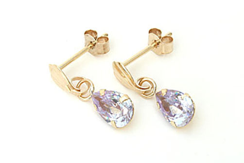9ct gold purplec CZ Teardrop earrings Made in UK Gift Boxed Birthday Gift