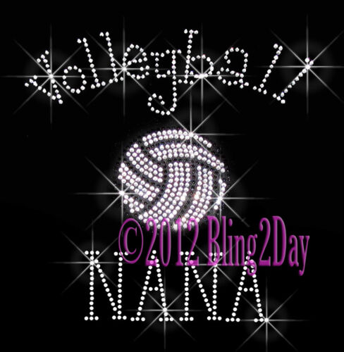 C Rhinestone Iron on Transfer Hot Fix Bling Sports School Volleyball NANA