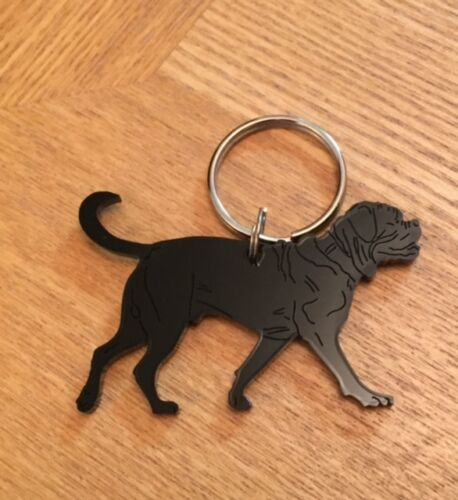 Dogue de Bordeaux Dog Keyring Bag Charm Keychain Gift In Black