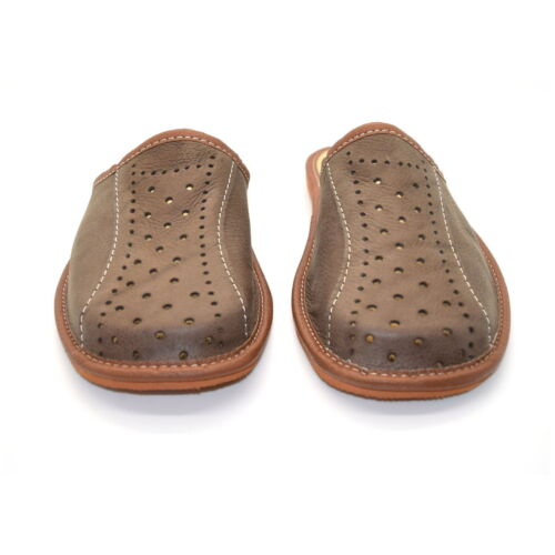 Mens Leather Slippers Mules Brown Size 6 7 8 9 10 11 12 Flip Flop Sandals UK