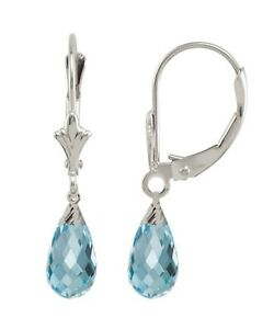 Created Aquamarine 1.20 Carat 10K WG Briolette Earrings