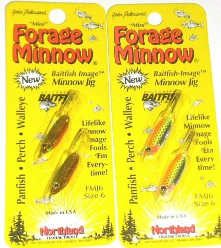 Lot of 2-Glow Chub//Gold Perch Northland Tackle #6 Live Forage Minnow Jigs
