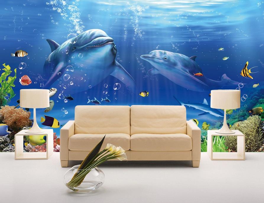 3D Zwei Delphine Fisch 864 Tapete Wandgemälde Tapete Tapeten Bild Familie DE | Primäre Qualität  | Günstige Preise  | Verschiedene