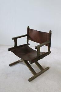 Vintage-X-Base-Oak-and-Saddle-Leather-Folding-Armchair-Hungary-1970