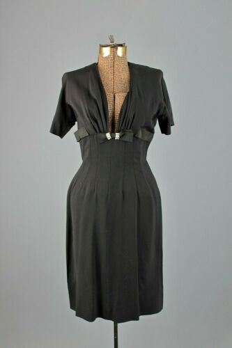 VTG Women's 40s Black Rayon Dress Sz S 1940s LBD M
