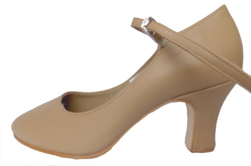 Tan Cuban Heel Chord T Strap Character Shoe By Bloch Various Sizes