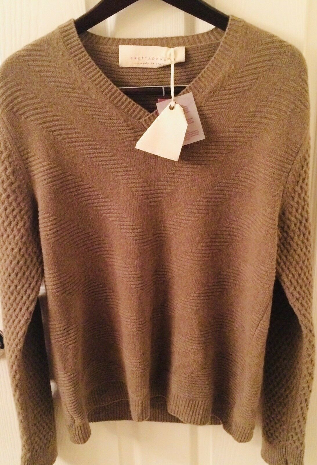 Cashmere & Extra Fine Virgin Lambswool Mens Medium Sweater Handmade In  NWT