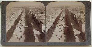 Parigi Campi Elysées Vista Da L Arco Da Triomphe Foto Stereo Vintage Albumina