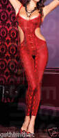Bodystocking Python Print Cut Out Cl Footless Red & Black Women Size Ml1122