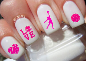 Image Is Loading Volleyball Nail Art Stickers Transfers Decals Set Of