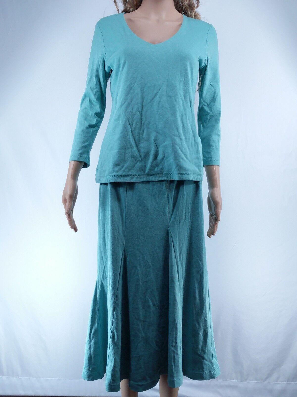 Peruvian Connection Medium Long Sleeve Top & Pull On Skirt Set bluee Pima Cotton