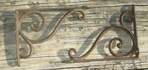 set of 2 antique style Cast Iron Decorative Scroll Shelf Brackets #08S/03