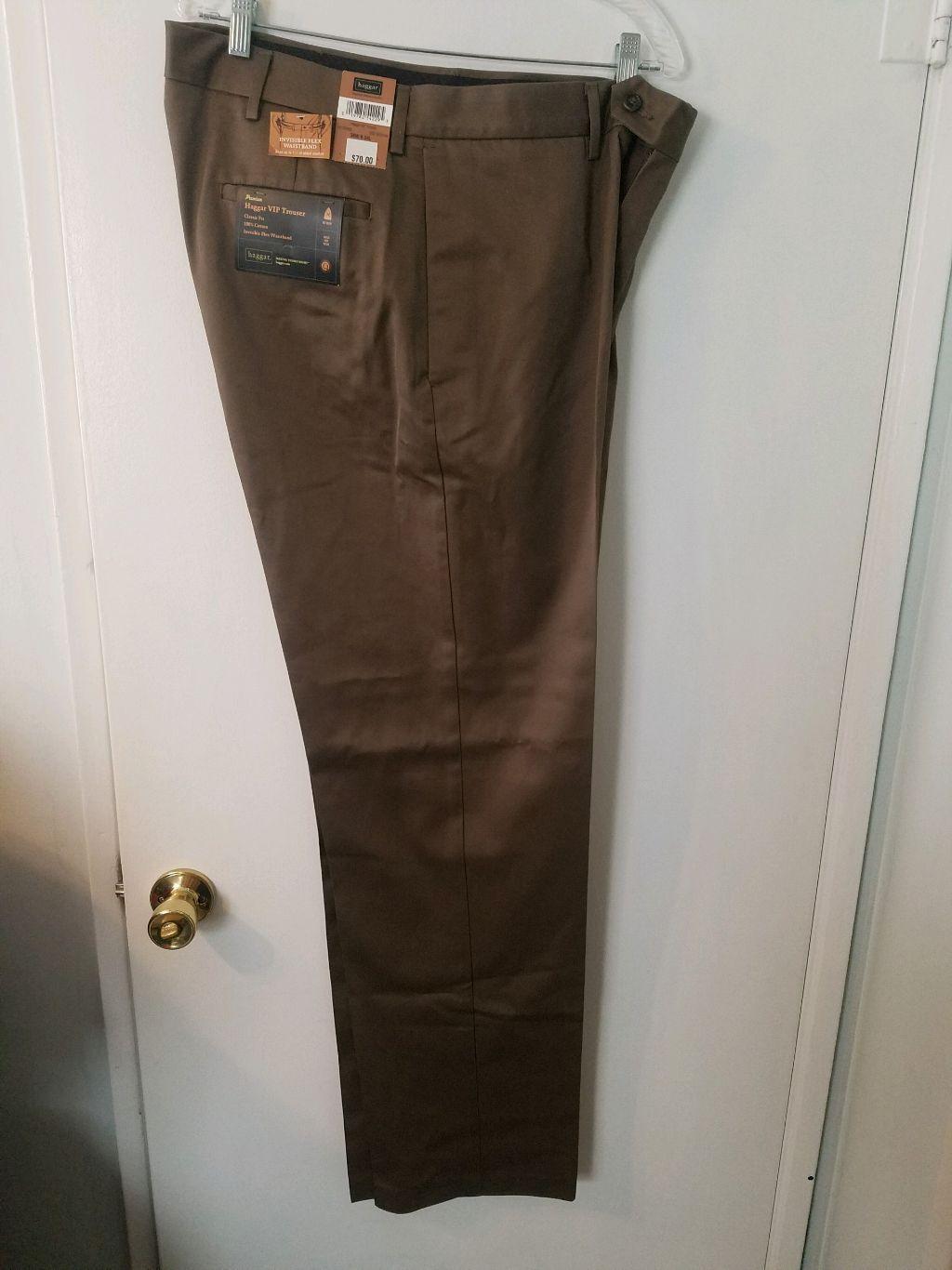 Haggar Mens Pants Dress Casual VIP Trouser 36 x 34 Plain Front MOCHA BROWN New