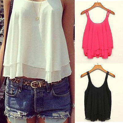1PC Women Bilayer Sleeveless Shirt Chiffon Loose Vest Tank Tops Excellent