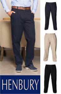 HENBURY-Pantaloni-chino-con-piega-frontale-con-rivestimento-resistente-alle-macchie-dimensioni-30-44