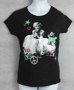 9f98c6434e MARYLIN MONROE Retro Girls T-Shirt Black White Glitter Free Shipping ...