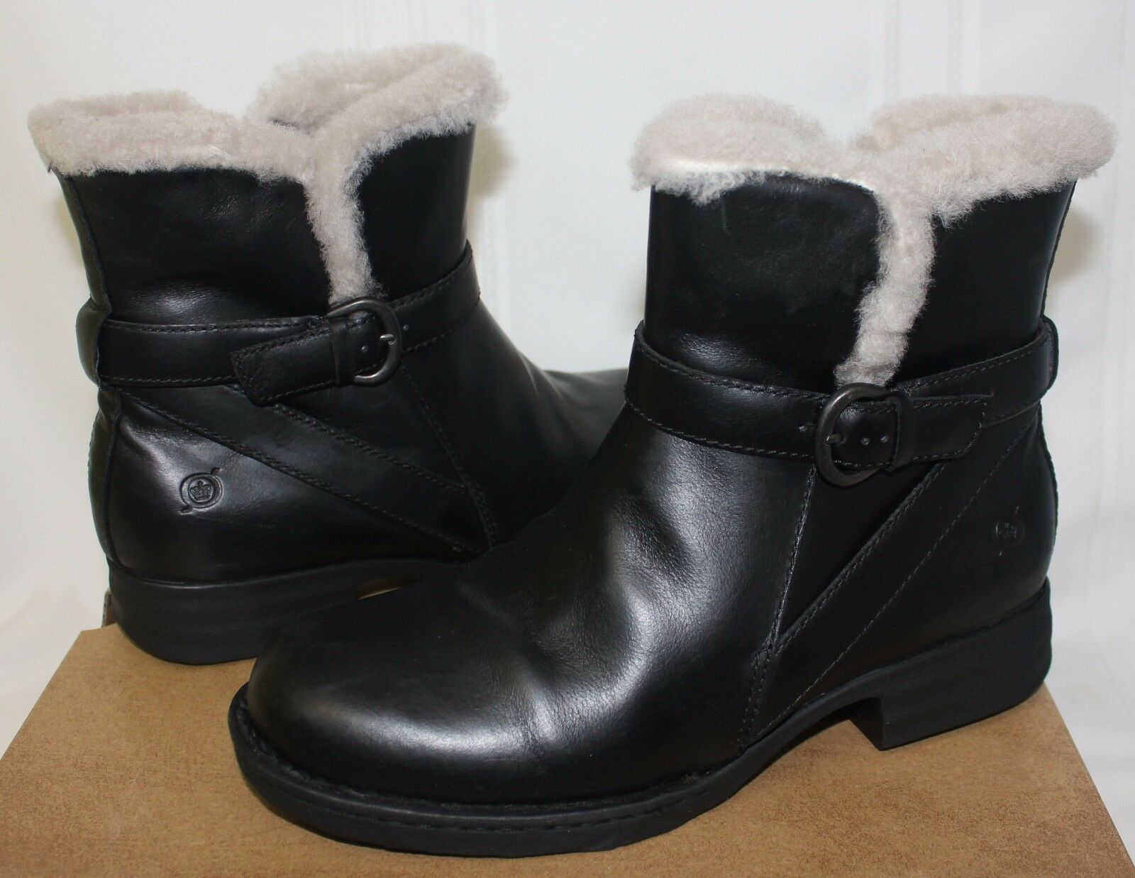 Born Women's Kaia Boots Black Leather Genuine Shearling lined New With Box