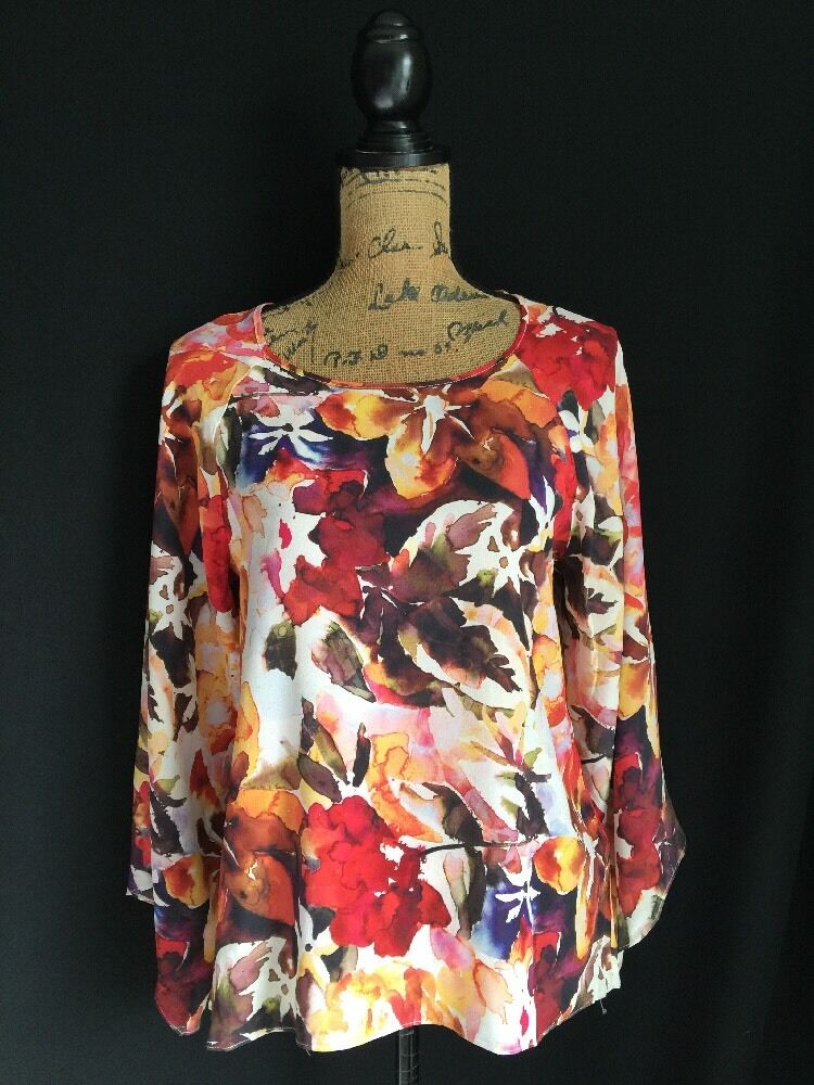 NEW Soft Surroundings sz Small 100% Silk Kimono High Low Bright Watercolor Top