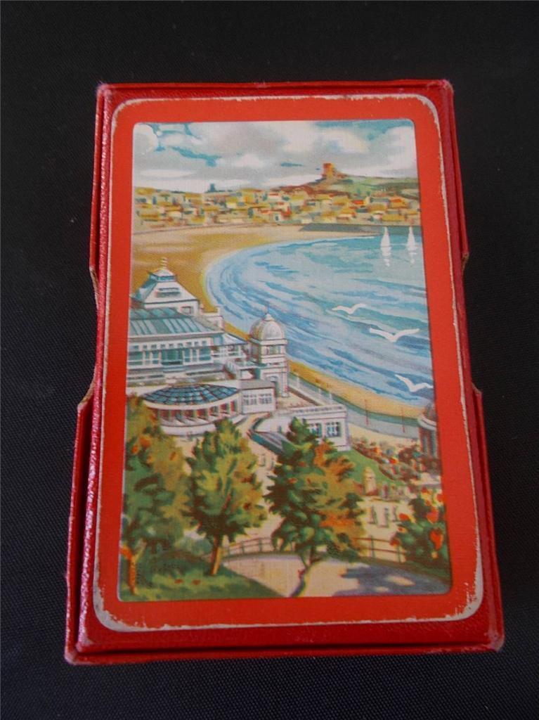 Vtg Playing Cards Adgreenising SCARBgoldUGH Seaside North Yorkshire Castle Spa Box