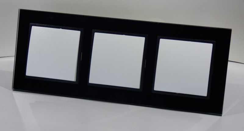3xWechselschalter im Glas Glas Glas Rahmen Einbau A weiß schwarz 3fach 10Ampere  273 | Verrückte Preis  c781bc