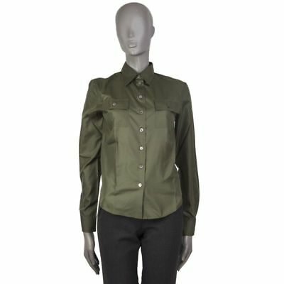 55660 auth HELMUT LANG military green POCKETS Button Down Shirt 40 S   eBay
