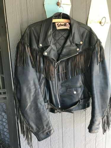 Vintage Leather Motorcycle Fringed Jacket Mens 48