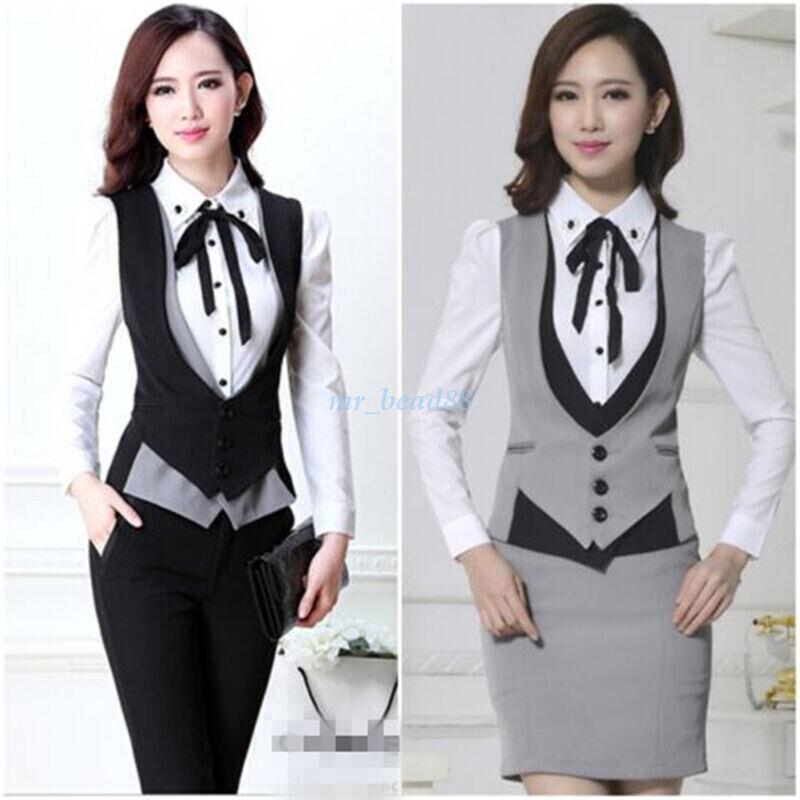 Ladies Blazer Career Suits Dress Vest Waistcoat Skirt Suit Pants Dress Blouse