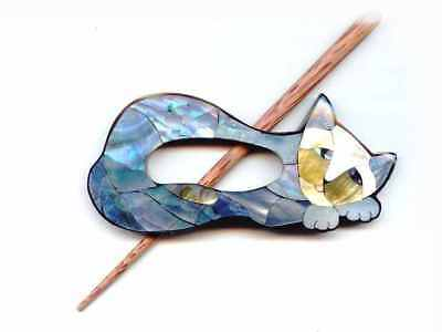 Buttons.etc ::Paradise Exotic Shawl Pin #41001::  Inlaid Mother of Pearl Cat