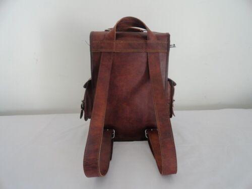 Neu Männer Frauen Vintage Leder Rucksack Schulranzen Laptop Umhängetasche