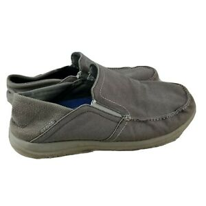 CROCS-TRIPLE-COMFORT-Grey-Canvas-Moccasin-Loafers-11
