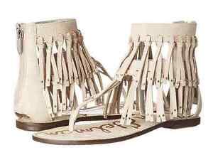 0f887e10b306 Image is loading Sam-Edelman-Griffen-Modern-Ivory-Leather-Fringe-Sandal-