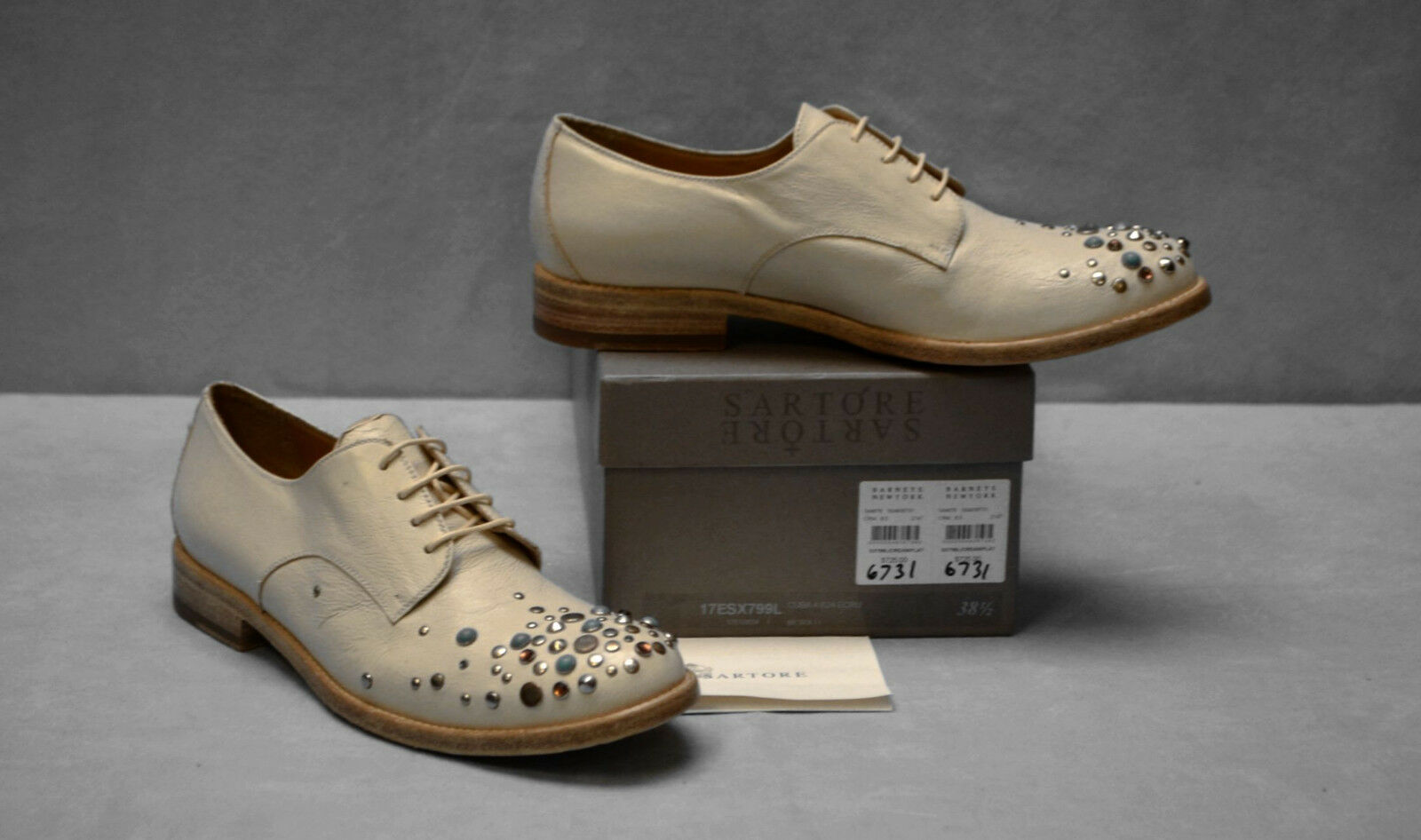 C0 NEW SARTORE Cream  Leder Faux schuhes Turquoise Studded Oxfords schuhes Faux Size 38.5 $725 f2ff6e