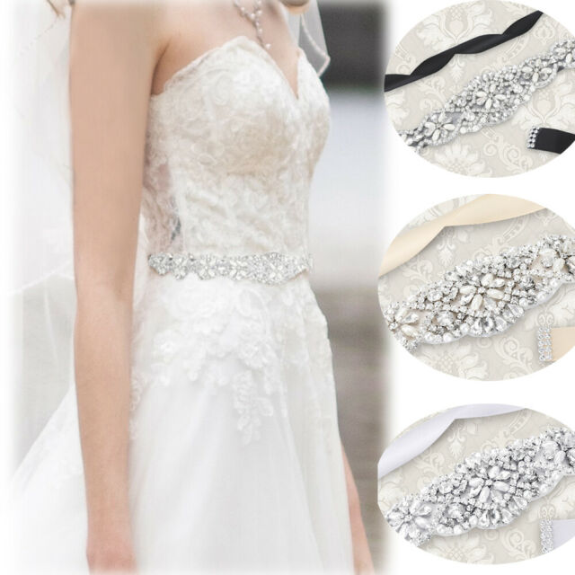 Crsytal Bridal Sash Rhinestone Applique Belt Wedding Dress Belts White Ribbon