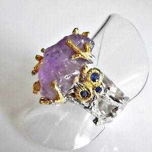 Handarbeit Eleganter Natürlicher Amethyst Saphir Ring 925 Silber Gold 18,1 mm 57