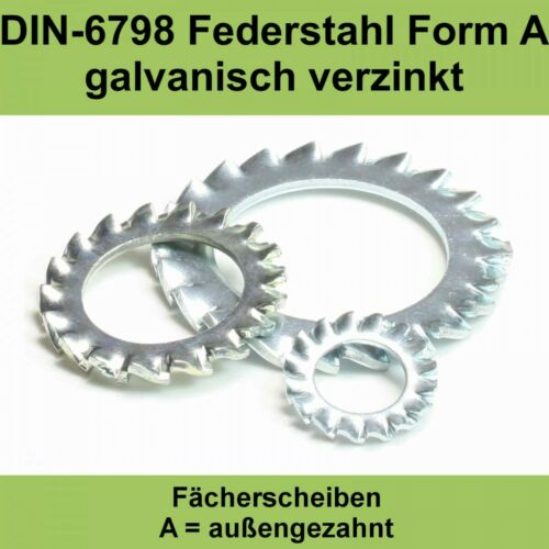 20,0 DIN 6798 verzinkte Fächerscheiben außengezahnte Federstahl A verzahnte M20