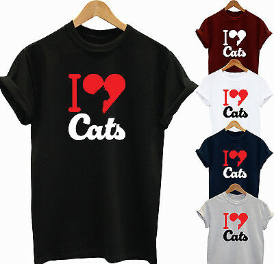 I Love Cats Funny Slogan Gift T Shirt Top Unisex