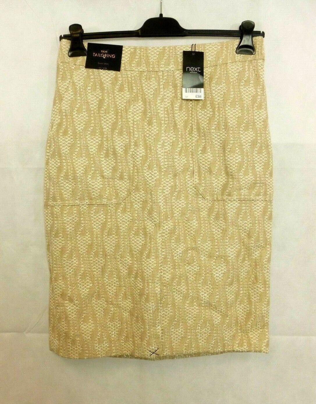 Next Neutral Jacquard Pencil Skirt Beige Size rrp  DH087 NN 05