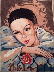 "Vintage Completed Needlepoint Canvas Art Tapestry ""SONGE"" 16""x19"" Made in France"