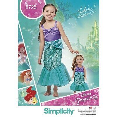 MAKE LITTLE MERMAID~ARIEL COSTUME GIRL /& DOLL DISNEY PRINCESS! SEWING PATTERN