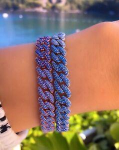 Curb-Chain-Bracelet-925-Silver-Degrade-Cuban-Chain-Cubic-Zirconia-14K-Gold