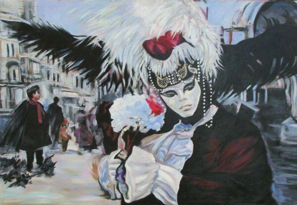 Pintura Al Óleo , Carnaval En Venedig, Bellamente Pintado, 80cm X 120cm,